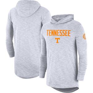 Erkekler Tennessee Gönüllüler Gömlek Beyaz turuncu Rekabet Slub NCAA 2019 Sideline Uzun Kol Kapşonlu Performans Üst T-shirt gri siyah