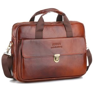 Cowhide Leather Business Bag Handbag Men Genuine Leather Bag Laptop Messenger Bags High Quality 14 inch  Men's Briefcases