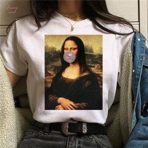 Wvioce Mona Lisa de dibujos animados divertidos de la manera Imprimir Camiseta de las mujeres de la parodia personalidad de la manera de Harajuku Verano Vestimenta para mujer
