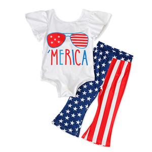 Bebek Çizgili İki Parçalı Set Kız Küçük Uçan Kol Seti Amerikan Bayrağı Bağımsızlık Milli Günü ABD 4 Temmuz Splice Çizgili Yıldız Pantolon Tops