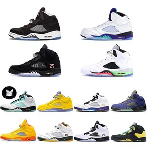 With Box 2020 5 Fire Red Wings Mens Basketball Shoes 5s Island Green Orange Peel White Black Grape Sports Sneakers Free Shippment