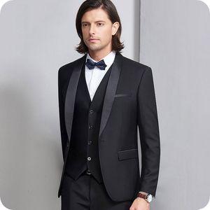 Black Men Suits For Wedding Suits Custom Made Best Man Blazer Formal Slim Fit Bridegroom Groom Wear Prom Costume Tuxedos Jacket+Pants+Vest