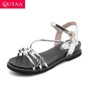 QUTAA 2020 Rugan Moda Kadın Ayakkabı Yaz Slingback Toka Kadınlar kristal açık burunlu Kama Topuk Sandalet Size34-40 pompalar