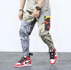 Harajuku Hip Hop Pantolon Streetwear Erkekler Baggy Harem Pantolon Ayak Bileği Patchwork Pantolon Cep Rahat Kamuflaj Tatical Kargo Pantolon 2018