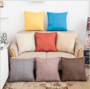 Pillowcase Solid Color Cotton Linen Gerades Design Werfen Kopfkissenbezug Kissenbezug Dekor Kissenbezug Blank Weihnachtsdekor-Geschenk YSY216