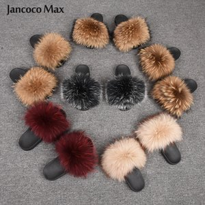 New Arrival Women Shoes Real Raccoon Fur Slides Wide Fur Fluffy Flip Flops Summer Sandals Natural Fur Slippers S6047 Y200706