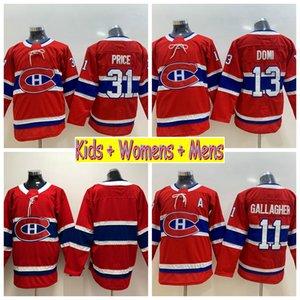 2019 Juvenil Montreal Canadiens Hockey Jerseys 31 Carey Price 11 Brendan Gallagher 13 Max Domi Niños Niños Hombres Mujeres Casa Camisas cosidas en rojo