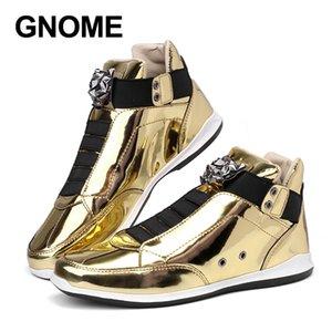 GNOME Leopard Head Design Hombres Zapatos casuales de cuero Bling Oro Plata Cuero de PU Zapatos masculinos Zapatillas altas sin cordones Hombres