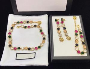 Modische neue Stil heißer Verkauf Farbe Diamant Halskette Armband stud Luxus benutzerdefinierte Messing Frühling und Sommer Mode Halskette Armband stud