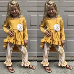 INS Mädchen Anzüge Kinder-Designer-Kleidung Mädchen fallen Boutique Kleidung Mädchen Designer-Outfits T-Shirt Kleider + Leggings Kinder Sätze A7951