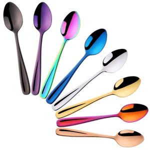 cubiertos creativo cuchara de café de 304 cucharas de acero inoxidable chapado en mezclar pequeña cuchara de té de color cuchara cucharas de sopa Cubiertos T2I5270-1
