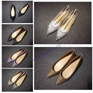Hot Sales Glitter Red Bottom Spiked Flat shoes Women Red Sole Shoes Sequins heels Party Wedding Shoes Pointed Toe Pumps
