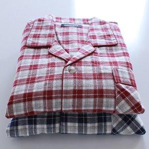 Men's simple plaid cotton flannel set home clothes set long-sleeved trousers sleeping suit home clothes suit