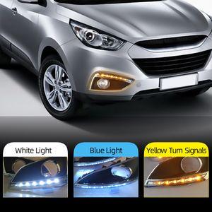 Hyundai ix35 için su geçirmez 2pcs Süper parlak 2010 2011 2012 2013 otomobil ışık 12V LED DRL Gündüz 2009 sis lambası delik ile Lights Running