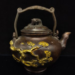 di rame cinese Antique Red Gilt Plum Blossom modello HT069 Teapot