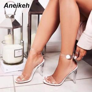 Aneikeh 2019 Frauen Sandalen Knöchelriemen Perspex-Absatz-PVC-freier Kristall Kurzer klassische Wölbungs-Bügel-Qualitäts-Schuhe MX200407