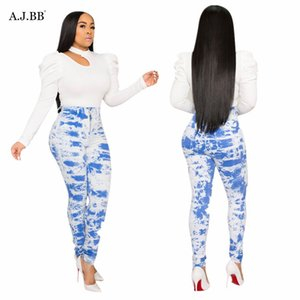 European and American sexy tie dye printed jeans fashion thin fit tight women's pants