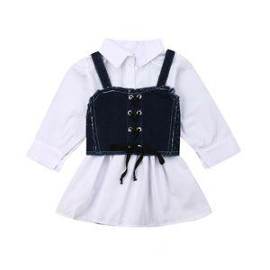 Kinder Prinzessin Dress + Gürtel Neugeborenes Baby Langarm-Shirt Sling Jeans Kleider Mode-Frühlings-Herbst-Kleidung Set 1-6Y