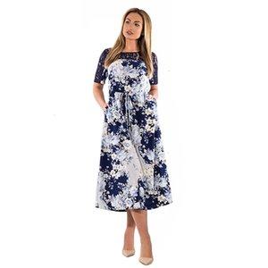 Femmes Robes Femme Vêtements 6XL 2019 Eté Dentelle Femmes Robes Grandes Tailles Vintage Casual Robe imprimé floral Femme Maxi Dress