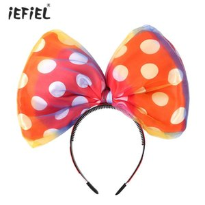 iEFiEL Women Kids Girls 3D Big Polka Dots Bowknot Headband Hairband Hair Hoop Huge Bow Costume Accessories Party Props