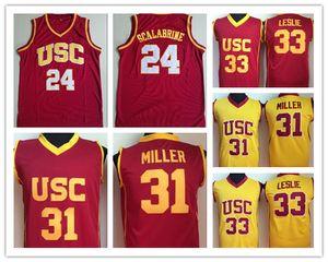 USC Trojans College Brian Scalabrine 저지 매트 밀러 Lisa Leslie 농구 Jerseys University 팀 빨강 색상 노랑