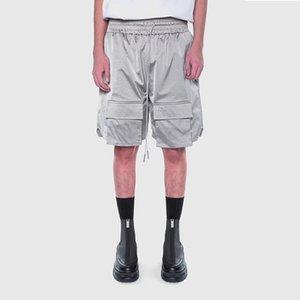 Beiläufige lose Silber High Street Taschen Shorts Herren-elastische Taillen-Wide Leg Hip Hop Aufmaß Fünf-Punkte-Pants