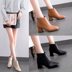Autumn and Winter Round Toe Women High Heels Boots New Zipper High Heels Women's Martin Boots Back Zipper Short Ankle Boots