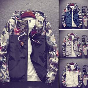 Hirigin Fashion Casual da uomo Camo Thin Hooded Jacket Wind Breaker Sport Cappotto allentato Top