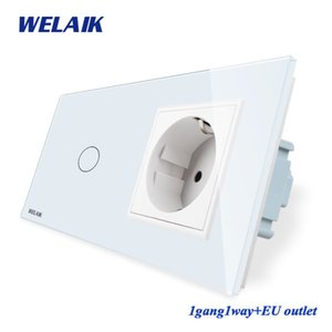 WELAIK 2Encuadre-Cristal-Panel de pared Interruptor de la UE-Touch-Screen-Switch UE pared zócalo 1gang-1 vía AC250V A29118ECW / B T200605