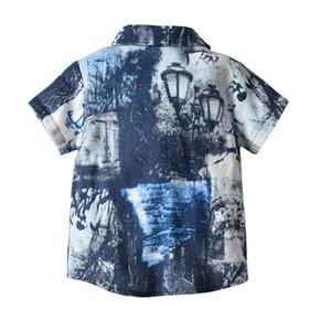 Junge scherzt Kleidungshemd-Sommerkurzschlusshülse drehen unten Kragen Strandurlaub-Hemd-Baumwollsommerjungenkleidung 100%
