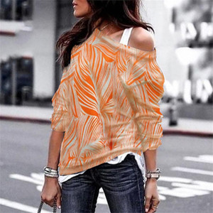 Designer Women's T-shirt Long-sleeved Shirt T-shirt 2020 New Arrival Autumn and Winter Sets of Heads Hot Off-the-shoulder Long Sleeved Print