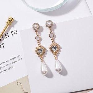 MENGJIQIAO 2018 Neue Mode Klarem Kristall Liebe Herz Lange Pendientes Mujer Moda Wassertropfen Simulierte Perle Baumeln Ohrringe Geschenke