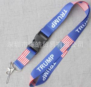 Trump Lanyards Cuerda para colgar Bandera de los Estados Unidos Cuerdas colgantes de patrón largo Popular Color azul portátil Vender bien 2 4sh J1