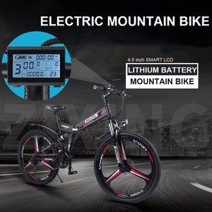 26 inç katlanır elektrikli dağ bisikleti 48V değişken hız akıllı GPS APP ebike Çift pil dahili lityum pil 40KM / H