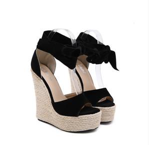 Roma tarzı papyon süet saman dokuma platformu takozlar sandalet siyah sandale gladyatör kadın sandalet 16cm