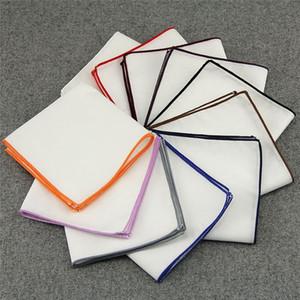 Piazze Pocket Fazzoletti Mens bianco di cotone dei vestiti 23x23cm Bianco Pocket fazzoletti Gentlemen Suit Accessori Piazza Fazzoletto