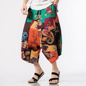 Çin Stil Buzağı Uzunluk Pamuk Keten Pantolon Erkekler Pantolon Hip Hop Jogger Pantolon Erkekler Sweatpants Streetwear