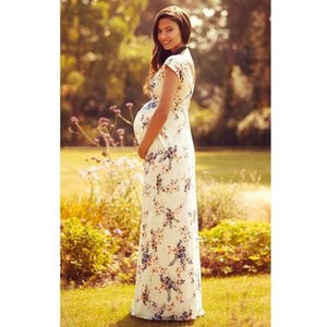 TELOTUNY Summer New Fashion Women's Floral Short-Sleeved Dress Pregnant Women Maternity Long Dress Wholesale Breastfeeding