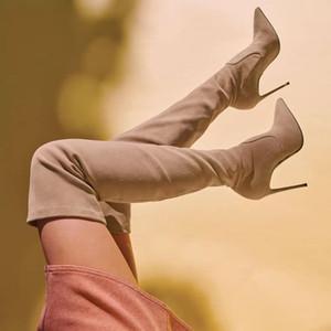 Sexy sopra il ginocchio della coscia stivali alti di lusso stilista delle donne stivali beige bordeaux stivali invernali neri sintetica scamosciata