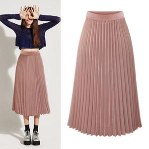 2017 юбка лето новый шифон половину юбка в складку длинный отрезок упругой высокой талии Тонкий был тонкий рыхлый половина
