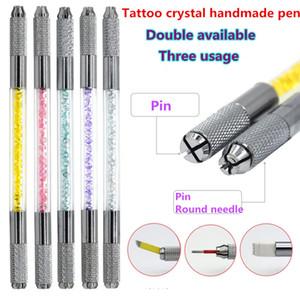 6 Цветов Ручной Двухголовый Ручка Татуировки Для Губ Бровей Перманентный Микроблейдинг Ручка с Горный Хрусталь