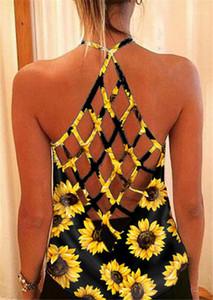 Solta Designer Casual Sexy Tees Womens oco Out Backless Vest Verão Girassol Imprimir Halter Correia camisetas As fêmeas