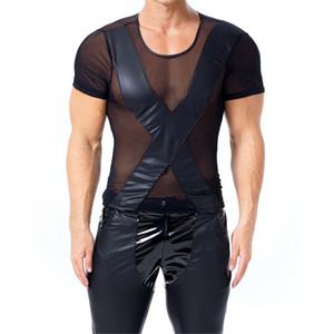 Hombres de cuero de patente camisetas Sheer Mesh Tops para hombre camisetas de PVC Fetish Stage ropa de manga corta de verano Streetwear Sexy Night Club Wear