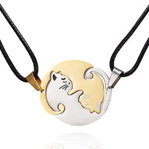 6Pcs / sürü Yeni Tasarım Paslanmaz Çelik Basit Hayvan kedi kolye Salkım Siyah / Beyaz kedi Hugging Yuvarlak Çift Dikiş kolye T-115