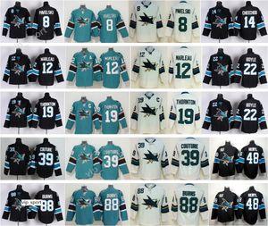 Erkekler Hokey 8 Joe Pavelski Forması San Jose Köpekbalıkları 88 Brent Burns 39 Logan Couture 19 Joe Thornton 12 Patrick Marleau Tomas Hertl