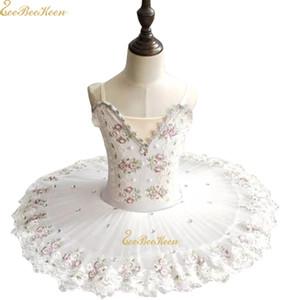 Vestido de balé Menina Branca Lake Swan Tutu Ballet Mulheres Dance Dress Ouro Lace Ballerina Adulto Diamante Desempenho de Palco Traje