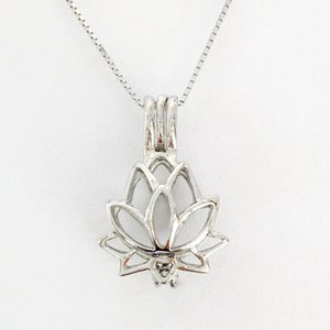 Rhodium Plated Color Lotus Pendant Locket Cage Can Open Pendant Mountings For Bracelet Necklace Earring DIY Floating Charms Jewelry