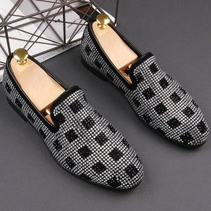 England design men's fashion wedding party dresses natural leather shoes slip on lazy shoe rhinestone loafers chaussure homme