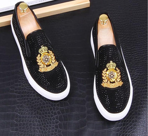 2020 New luxo Dandelion Spikes plano de couro sapatos Rhinestone Moda Masculina bordados Loafer Dress Shoes fumadores Slipper sapato Casual