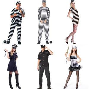 Costume cosplay per feste da ballo Halloween COS Prigioniero Prigioniero Costume da palcoscenico Adulto Uomo Donna Prigioniero a strisce Giudici Abito PProps Set 06